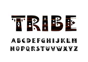 Fototapeta Vector uppercase bold alphabet in tribal style obraz