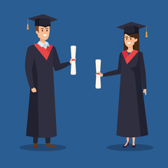 woman and man university graduation with rope and diploma
