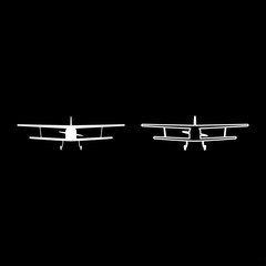 Airplane view with front Light aircraft civil Flying machine icon outline set white color vector illustration flat style image