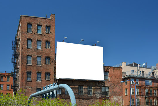 Billboard Canvas Mockup On Brick Building