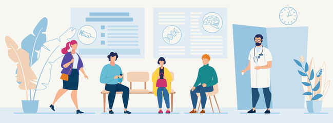 Patients Sitting in Chairs Waiting Appointment Time at Hospital. Doctor Consultation Modern Clinic Vector Illustration. Man Physician in Uniform Welcoming Visitors Medical Diagnosis for Illness People