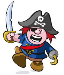 niedliche Piratenfigur mit Säbel