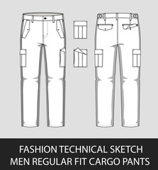 Fashion technical sketch men regular fit cargo pants