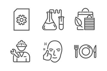Chemistry lab, Repairman and Bio shopping icons simple set. File management, Healthy face and Food signs. Medical laboratory, Repair service. Business set. Line chemistry lab icon. Editable stroke