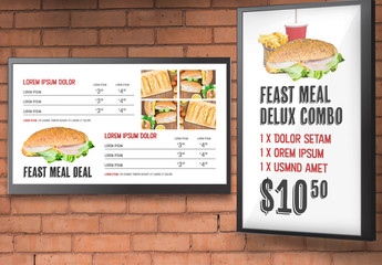 Digital Display Menu Layouts with Photo Placeholders