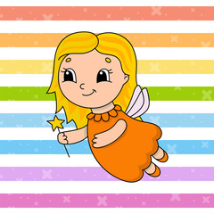 Tooth Fairy. Cute flat vector illustration in childish cartoon style. Funny character. Isolated on white background.