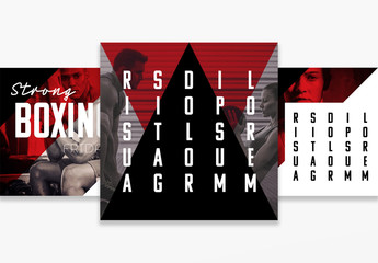 Fitness Social Media Post Layouts with Red Accents