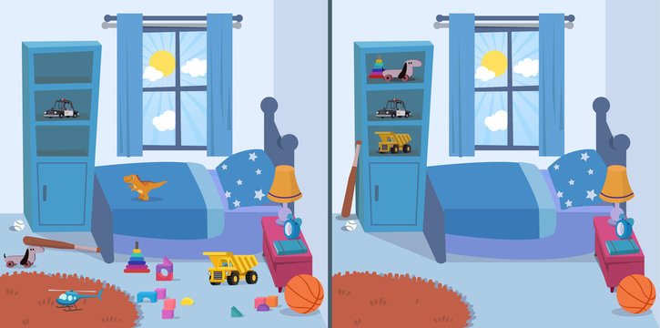 room clean and dirty vector illustration