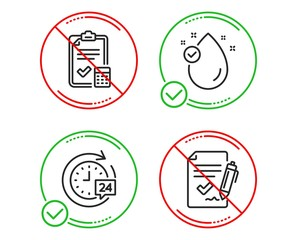 Do or Stop. Vitamin e, Accounting checklist and 24h delivery icons simple set. Approved agreement sign. Oil drop, Calculator, Stopwatch. Signature document. Business set. Line vitamin e do icon
