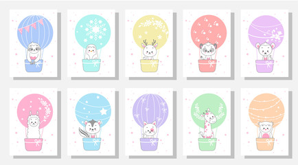 cute kids greeting card vector set bundle