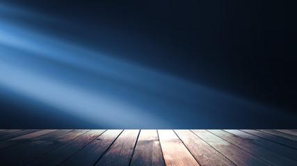 Background of empty dark scene with wooden old floor. Neon light smoke. Dark abstract background Fototapete