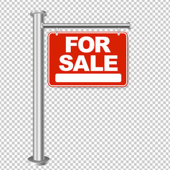 Red Sign For Sale Isolated Transparent Background