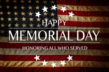 Wall Mural - American flag with the text Memorial day. Celebration of all who served.