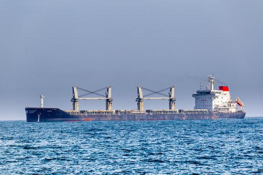cargo ship in the Mediterranean