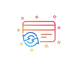 Change credit card line icon. Payment method sign. Gradient design elements. Linear change card icon. Random shapes. Vector