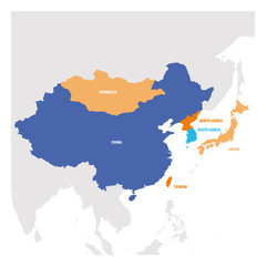 Fototapete - East Asia Region. Map of countries in eastern Asia. Vector illustration