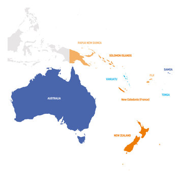 Australia and Oceania Region. Map of countries in South Pacific Ocean. Vector illustration