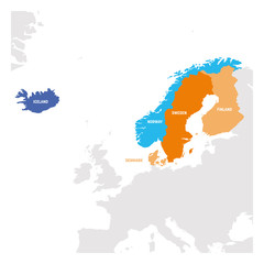 Fototapete - North Europe Region. Map of countries of Scandinavia. Vector illustration