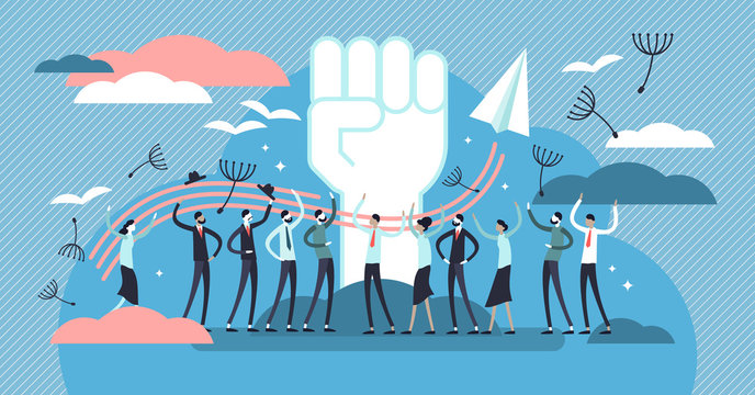 Freedom vector illustration. Flat tiny independence crowd persons concept.