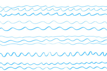 Abstract wavy wallpaper of the surface. Waved nautical background. Colored pattern with lines and waves. Sea dinamic texture. Doodle for design