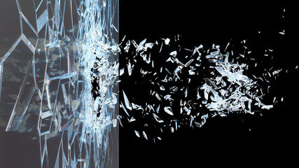 Abstract broken glass into pieces. Wall of glass shatters into small pieces. Place for your banner, advertisement. Explosion caused the destruction of glass. 3d illustration Fototapete