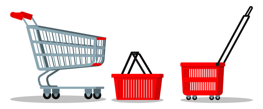 Empty supermarket chrome metal trolley cart with wheels, red plasyic shopping basket icon set for goods isolated on white background. Vector cartoon flat style illustration, element of graghic design.