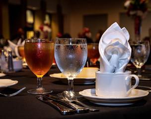 Ballroom Drinks And Dinner Setting
