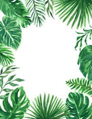 Tropical Watercolor Greenery Foliage Border