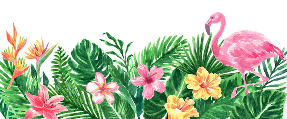 Tropical Watercolor Foliage Floral Border
