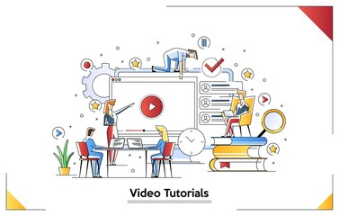 Modern flat concept web banner of Video Tutorial, Achievement, Online Education and E Books with decorated small people character. Conceptual vector illustration for web and graphic design, marketing.