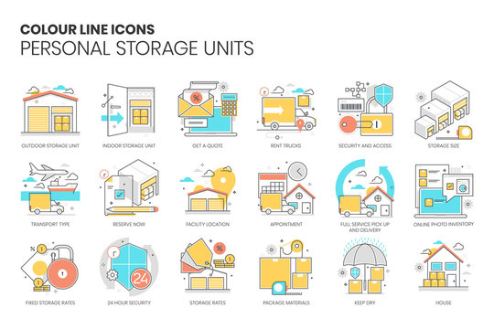 Personal storage unit related, color line, vector icon set for application and website development. The flat icon can be used as an illustration, background concept, graphics design, sign and symbol.