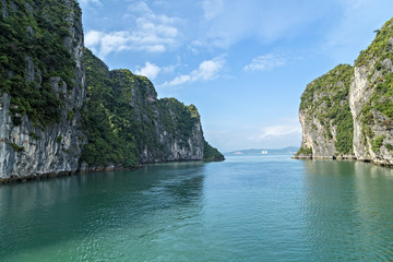 Halong bay islands mountains South China Sea paradise Vietnam. Site Asia