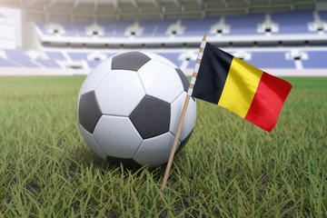 bd2d2a4bf Belgium flag in stadium field with soccer football