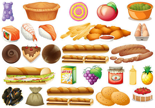 Set of different food