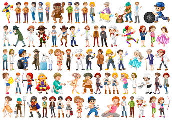 Printed roller blinds Kids Set of people character