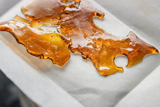 Cannabis Cannabinoids Concentrated Extract Shatter Wax Macro