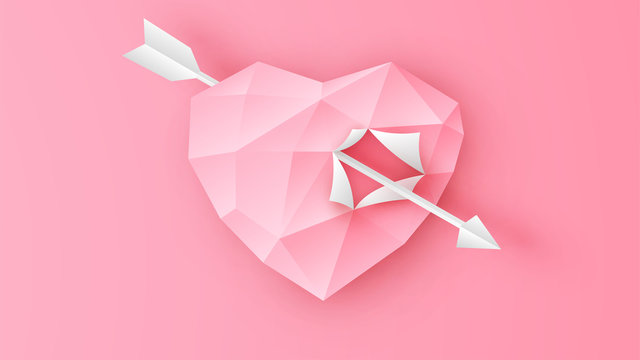 Illustration of Cupid arrow through the paper heart on pink background. Heart design for Valentine's day. paper cut and craft style. vector, illustration.