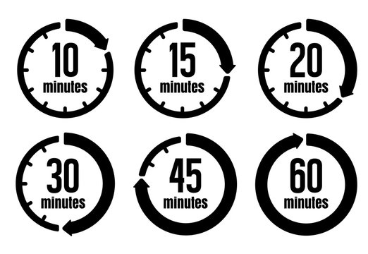 Clock , timer (time passage) icon set ( form 10 minutes to 60 minutes)