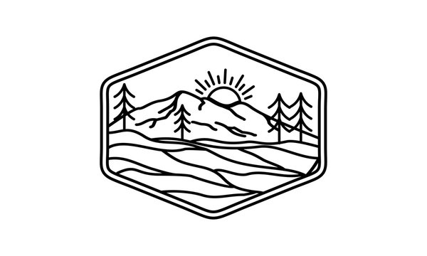 Mountain logo with outline style