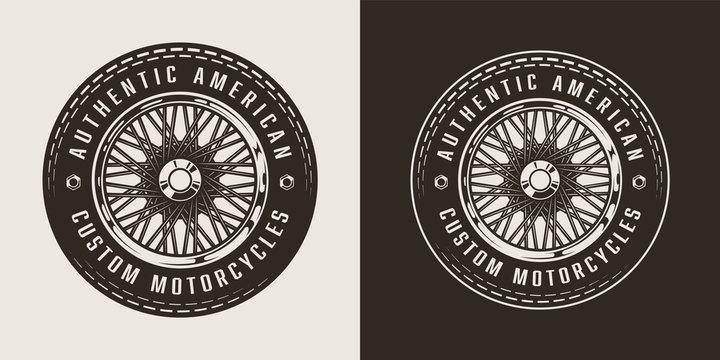 Vintage custom motorcycle emblem