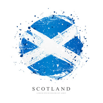 Scottish flag in the form of a large circle. Vector illustration