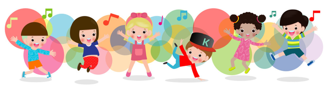 kid dancing together, Children dancing break dance. boys and girls dancer, Happy multiracial child jumping on background colorful isolated vector illustration