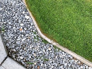 Grass , architecture design of grass field around home, artificial grass, home outdoor decoration concept Wall mural