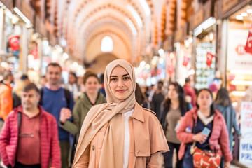 Portrait of beautiful Muslim woman in headscarf