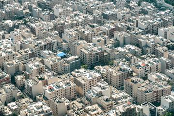 Scenic aerial view of residential buildings in Tehran, Iran