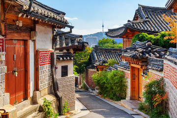 Gorgeous view of old narrow street and traditional Korean houses
