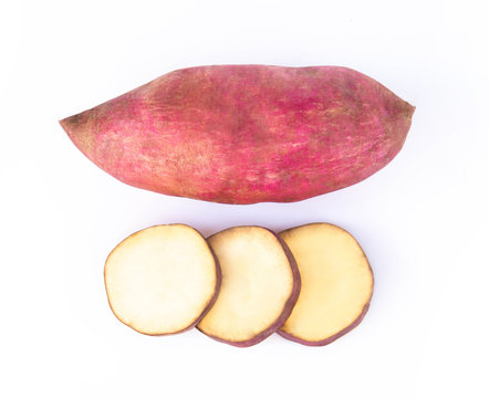 Top view raw sweet potato isolated on white background, healthy food concept