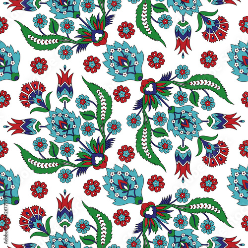 Ottoman iznik tile design with tulip flowers. Antique background for wallpaper, backdrop, home textile, curtain fabric.
