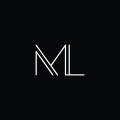 M and L initials letter icon vector
