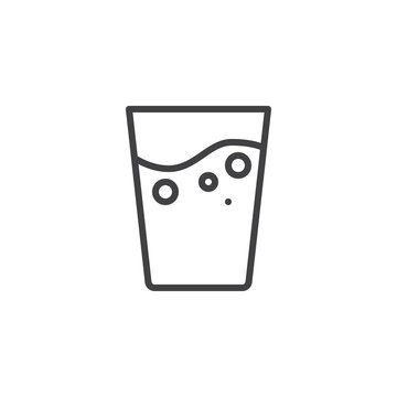 Mineral water glass line icon. linear style sign for mobile concept and web design. Pure water drink outline vector icon. Symbol, logo illustration. Pixel perfect vector graphics